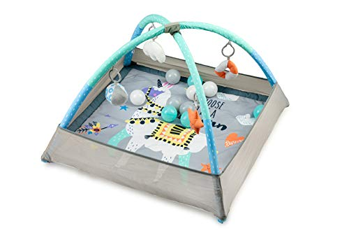 MOMI LAMALOVE Arco de juego para bebés desde el nacimiento |Set 2 en 1: esterilla de actividad sensorial con baño de bolas, 4 juguetes y 15 pelotas |Ancho 121 x largo 121 x alto 87 cm