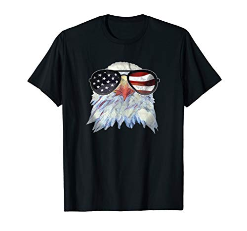 Adler mit USA Flagge Sonnenbrille Shirt Amerika 4th of July T-Shirt