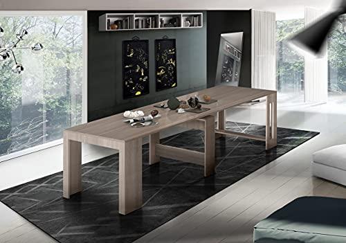 Dmora Tavolo da Pranzo Moderno, Made in Italy, Consolle allungabile 12 posti, con portallunghe, cm 51x90h77 (Fino a 300 cm) Colore Olmo Perla