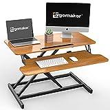 ERGOMAKER Standing Desk Converter, 32'/80cm Wide Height Adjustable Quick Sit to Stand Up Desk Riser for Dual Monitor