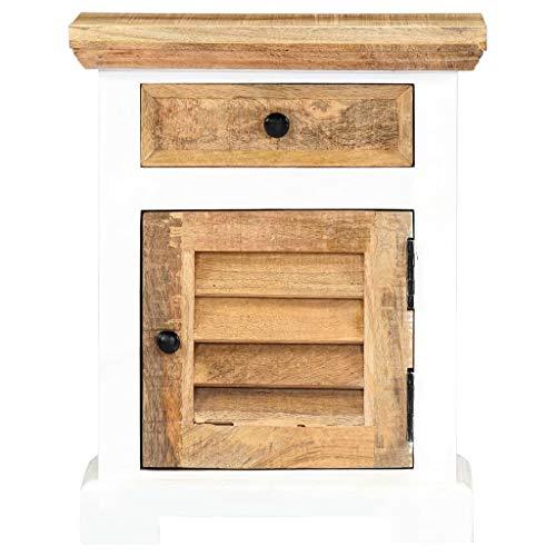 Tidyard Raues Mangoholz Massiv Nachttisch 1 Schublade 1 Tür Nachtschrank Nachtkommode Nachtkonsole Telefontisch Schlafzimmer Weiß Braun 40x30x50cm