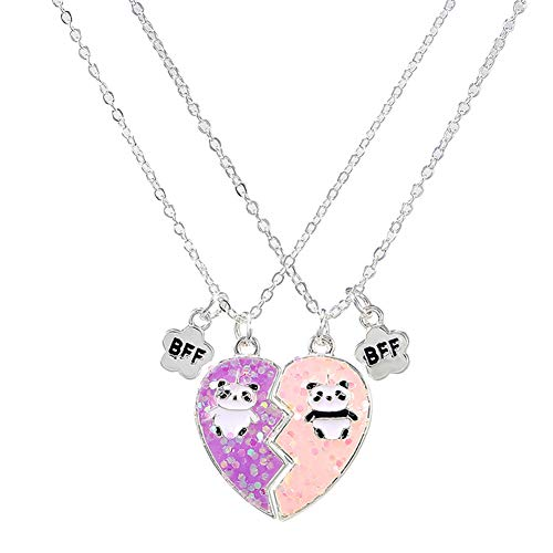 Elefezar Best Friends Magnetic Half Heart Pendant Necklace 2Pcs/Set Charm BFF Friendship Jewelry Panda