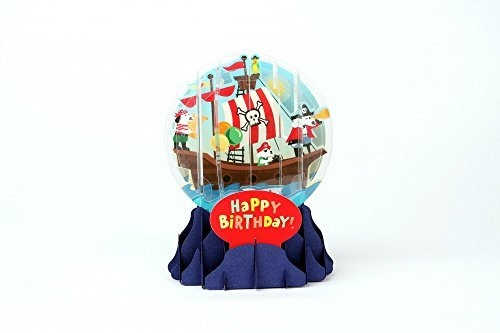 3D Globe - PIRATE DOGS - Birthday Card by Pop-Up Snow Globe Greetings
