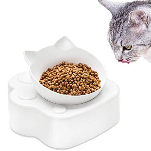 Dorakitten Futternapf Katze - Fressnäpfe für Haustier Erhöhte Katzenschalen Weiß 0-30 ° Verstellbare mit Ständer für Katzen und kleine Hunde - Single