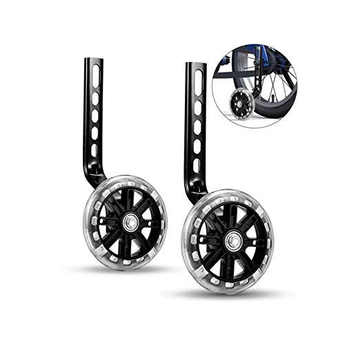 Guanici stabilizzatore per bicicletta regolabile, per allenamento, ruote di supporto universali per bicicletta per bambini, 1 paio (nero, 12-20 pollici)