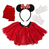Minnie Mouse Ladies Fancy Dress Tutu Ears Gloves Legwarmers Set outfit (Full 4 piece set) by PAPER UMBRELLA
