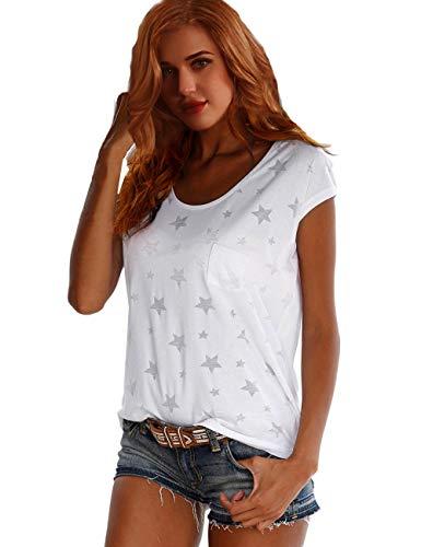TrendiMax Damen T-Shirt Tops Ärmellos Basic Sommer Shirts Allover-Sternen Druck Sexy Oberteil - Weiß - XXL