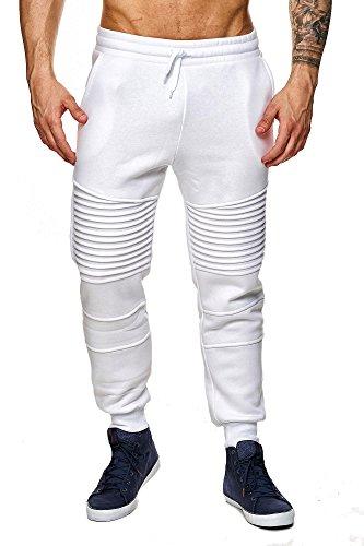 MEGASTYL Herren Jogginghosen Sweat-Pants Biker-Style Slim-Fit 100% Baumwolle, Farbe:Weiß, Größe:M