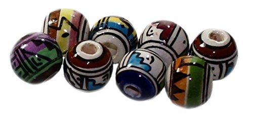 Budawi® - 10 Keramik Perlen aus Peru (rund), Ø ca. 11mm, mit schwarzem Lederband in 1 Meter, Keramikperlen