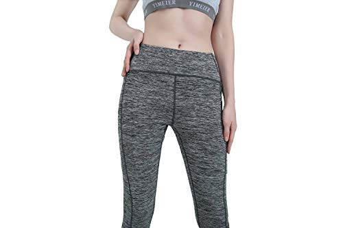 Womens Yoga Leggings with Pockets, Andy&Anne Upgrade High Waist Tummy Control, Plus Size Sport Leggings, Running Tights Training Pants, Non See-through Casual Trousers((XS,Grey(Hidden Pocket))