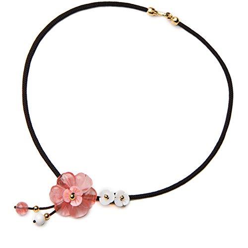HSUMING Arte Tradicional Chino Retro Rosa Cristal Flor Blanco Perla Colgante Collar clavícula Cadena Collar Corto para Las Mujeres niñas