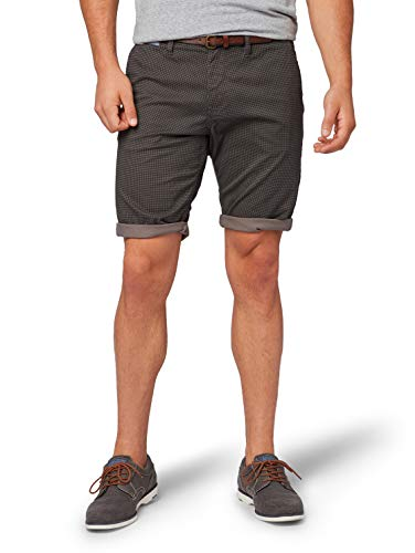 TOM TAILOR Herren Chino Basic Sommer Kurze Hose,Grau (Grey Houndstooth Des 15906),32