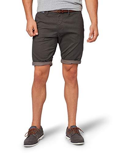 TOM TAILOR Herren Chino Basic Sommershorts Shorts, Grau (Grey Houndstooth Des 15906), 38