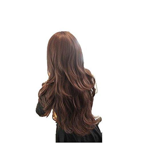 des Perruques Winwuxi Womens Filles Mode ondulés longs cheveux humains longs avec résille Brun Profond
