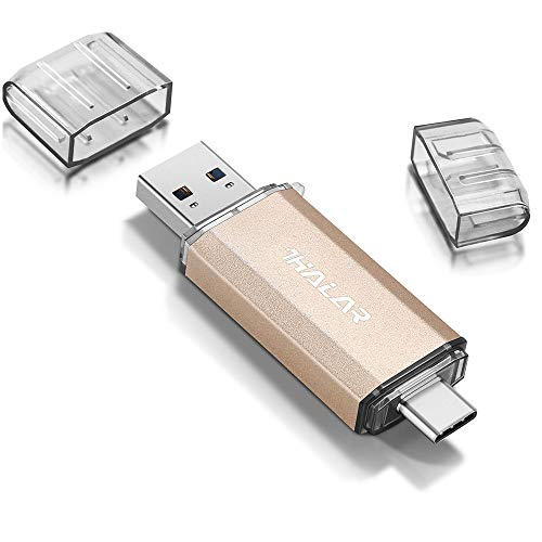 THKAILAR 32GB 64GB 128GB 256GB USB-C Flash Drive High Speed USB 3.0 Thumb Drive C for Music/TV/Video/External Storage Data, Pen Drive Memory Stick for Smartphones/PC/Galaxy/MacBook Pro (256GB, Gold)