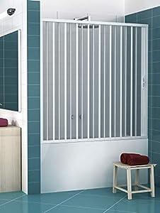 RL Puerta Mampara de bañera 160 CM de PVC Mod. Nina con Apertura Lateral