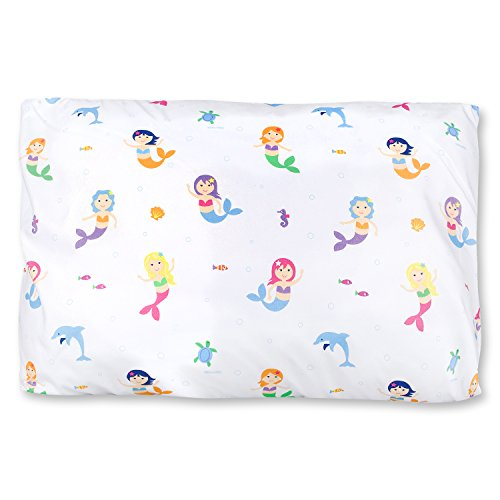 Wildkin Kids Microfiber Pillow Case for Boys and Girls, Soft Breathable Microfiber Fabric, Measures 20 x 30 Inches, Fits a Standard Size Pillow, BPA-free, Olive Kids (Mermaids)