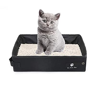 OMEM Foldable Portable Cat Litter Box Dry Wet Soft Travel Cat Litter Tray Lightweight Waterproof Toilet for Outdoor (Samll,Black)
