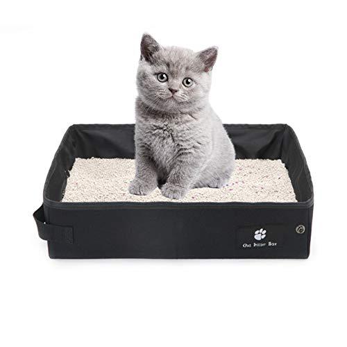 OMEM - Lettiera pieghevole portatile per gatti e gatti, da viaggio, leggera, impermeabile, per esterni (grande, nero)