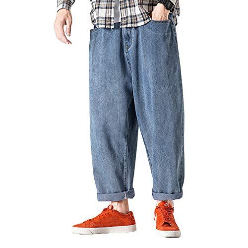 LDMB Herren Relaxed Fit Thicken Cuffed Jeans Winter Comfort Classic Cotton Hose Mit Weitem Bein Und Weitem Bein -Blau,XXL