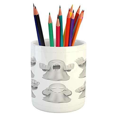 "Ambesonne Ghost Pencil Pen Holder, Rock n' Roll Phantom Metalhead Soul Insane Rebellious Funny Design Halloween Art, Ceramic Pencil Holder for Desk Office Accessory, 3.6"" X 3.2"", Pale Grey White -  pen_198690"