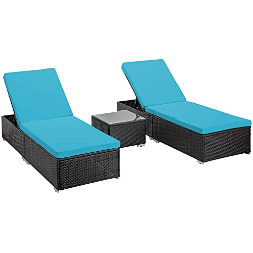 Do4U 3 Pieces Outdoor Chaise Lounge PE Wicker Reclining Chair with Cushions Furniture Set Patio Lounge Chair Adjustable Backrest Recliners for Outdoor Patio Beach Pool Backyard (Blue)