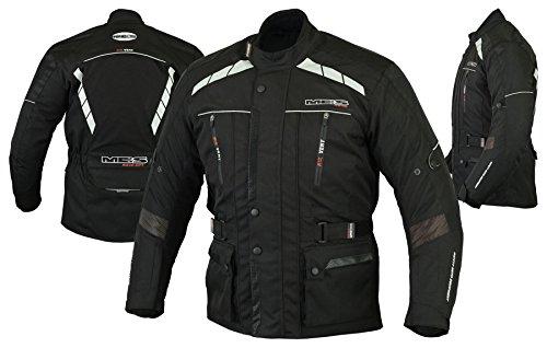 MBS MJ21 James Motocicleta Motocicleta larga chaqueta de viaje textil (Negro, 4XL)