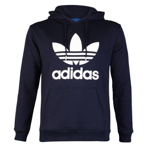 Adidas Originals - Sudadera con capucha para hombre, talla L, diseño con logotipo de trébol, color azul oscuro y blanco