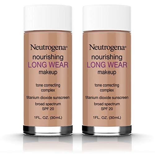 Neutrogena Nourishing Long Wear Liquid Face Makeup Foundation with SPF 20 Sunscreen, Tone-Evening and Texture-Improving, Antioxidants, Soy, and Vitamins A, C and E, 135 Chestnut, 1 fl. oz (Pack of 2)