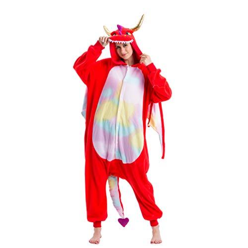 Spooktacular Creations Unisex Adult Plush Pajama Onesie One Piece Red Dragon Animal Costume (Large)