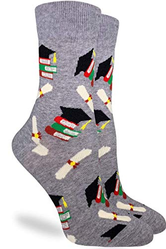 Good Luck Sock Women's Graduation Socks - Grey, Adult Shoe Size 5-9