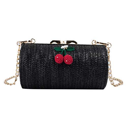 Qinlee Stroh Schultertasche Strandtaschen für Damen Boho Stroh Tasche Handtaschen mit Kirsche Sommer Rattan Tasche handgemachte gewebte Strandtasche für Mädchen-schwarz