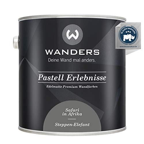 Wanders24® Pastell Erlebnisse (2,5 Liter, Steppen-Elefant) edelmatte Wandfarbe - Feine Farben - in 40 Farbtönen - Wandfarbe Grau - Made in Germany