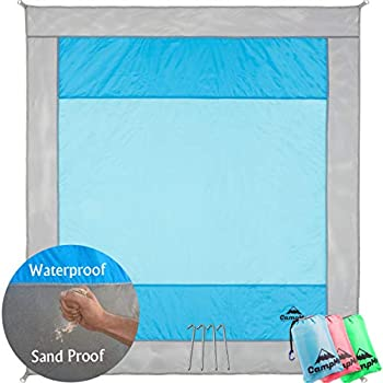 Beach Blanket Sand Proof Sand Free and Waterproof Combined - Extra Large Outdoor Beach Mat/Sand Mat Quick Drying and Washable Lightweight & Durable Big Blanket and Compact 6.6 X 7.2 Blue