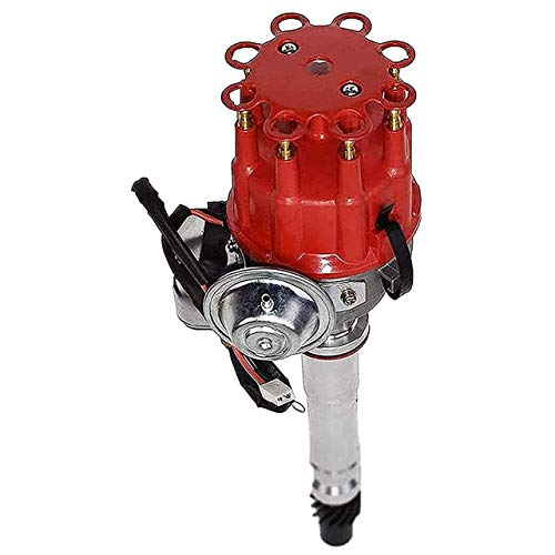 A-Team Performance R2R Ready 2 Run Complete Distributor Compatible With Chevrolet GM Small Block Big Block Chevy SBC BBC 283 305 307 327 350 400 396 427 454 Two-Wire Installation Red Cap