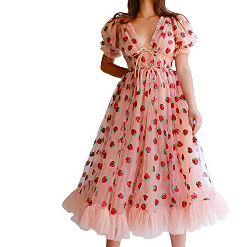 Nuevo Vestido Casual para Mujer Sexy con Cuello en V Falda Larga para Mujer Vestido de Malla Dulce de Fresa Vestido de cóctel de Color sólido Vestido de Fiesta Vestido de Fiesta Manga abullonada