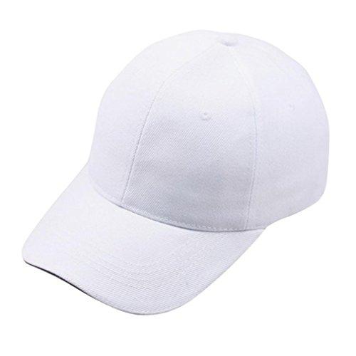 Baseball Kappe Unisex, Sunday Frauen Baseball Cap Snapback Hut Hip-Hop Einstellbar Outdoor Sports Pure Farbe Hüte (Weiß)