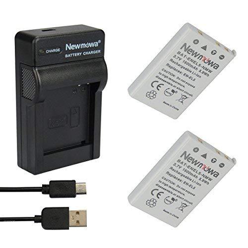Newmowa EN-EL5 Batería (2-Pack) y Kit Cargador Micro USB portátil para Nikon EN-EL5, Nikon Coolpix P530, P520, P510, P100, P500, P5100, P5000, P6000, P90, P80