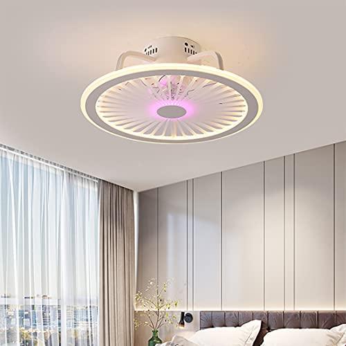 YUNLONG Ventilador Techo con Luz LED Mando A Distancia, 18Cm Ultrafino Moderno Regulable Silencioso Lamparas Ventilador De Techo con Temporizador 3 Velocidades Sala Dormitorio Ninos,Púrpura
