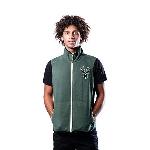Ultra Game NBA Milwaukee Bucks Mens Basic Full Zip Vest, Team Color, Medium