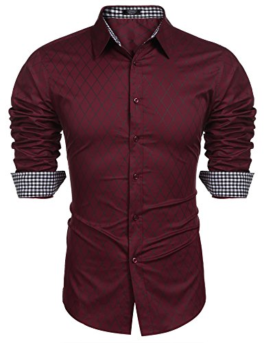 COOFANDY Herren Hemd Slim Fit Diamant-Gitter Karohemd Kariert Langarmshirt Freizeit Business Party Shirt für Männer