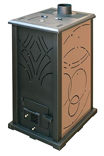 Pelletofen 13 kW, ohne Strom, freistehend, leistungsstark, leise, sparsam und umweltfreundlich, Biomassheizung, Pellets, Holzgranulat 18 kg, nicht verglaste Feuerstelle braun