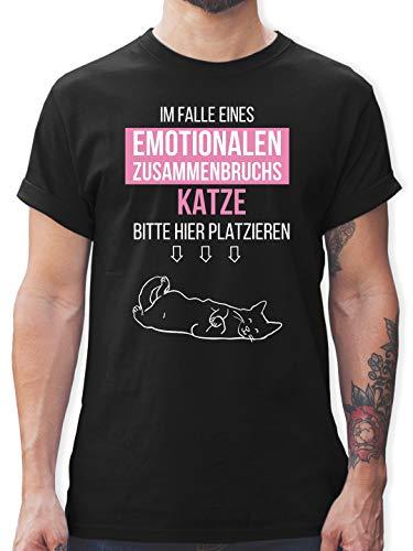 Sprüche Statement mit Spruch - Im Falle eines emotionalen Zusammenbruchs Katze Hier platzieren - 3XL - Schwarz - T-Shirt - L190 - Tshirt Herren und Männer T-Shirts