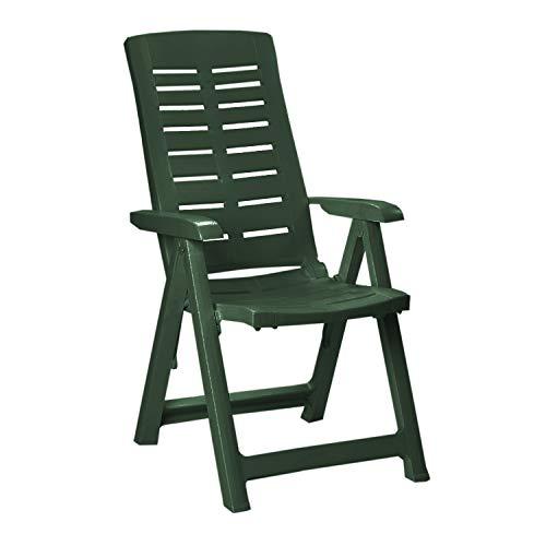 Mojawo Hochlehner - Klappstuhl, Campingsessel für Terrasse, Garten, Balkon und Camping - 5-Fach Verstellbarer Gartenstuhl - Positionsstuhl - Grün