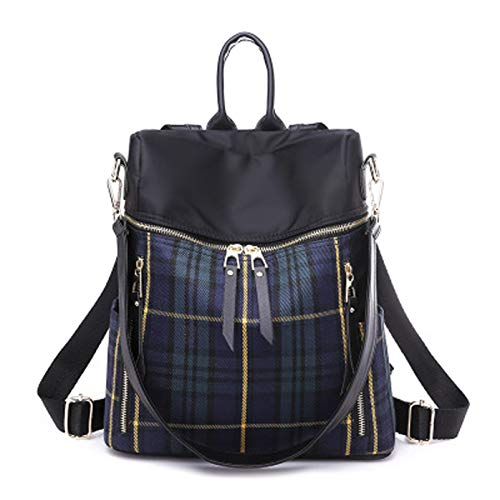 qwerasdf ladies backpack, nylon striped female bag, anti-theft shoulder bag, school bag backpack (blue stripes, 27*15*34cm)