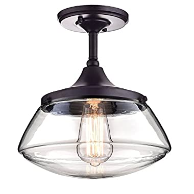 CLAXY Ecopower Vintage Metal & Glass Ceiling Light 1-lights Pendant Lighting Chandelier