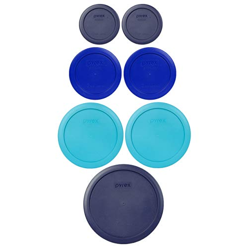 Pyrex (1) 7402-PC 6/7 Cup Dark Blue (2) 7201-PC 4 Cup Surf Blue (2) 7200-PC 2 Cup Cobalt Blue (2) 7202-PC 1 Cup Dark Blue Food Storage Lids