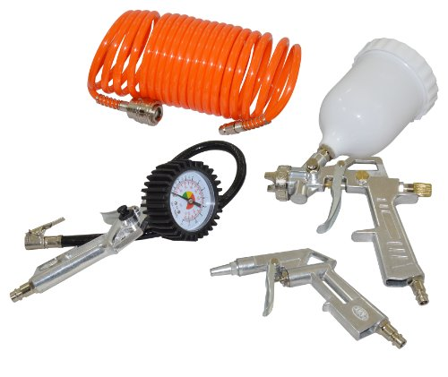 Wolf 4 Piece Air Compressor Tool Spray Kit Includes Tyre Inflator, 5m Coil Hose, Blow Gun and Gravity Feed Spray Gun
