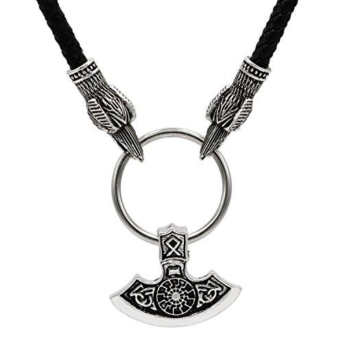 Collana da uomo a forma di martello di Thor (Mjolnir) 3D con teste di corvo, simbolo runico Othala Viking ascia collana, Ciondolo a forma di ascia di Perun, stile: slavo/vichingo