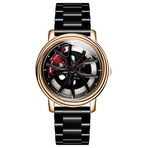 Reloj de Cubo de Rueda 3D, Reloj de Cubo de Acero Inoxidable, Reloj de Hombre Entusiasta del automóvil con Movimiento de Cuarzo japonés a Prueba de Agua de 360 rotores. (Oro Negro)